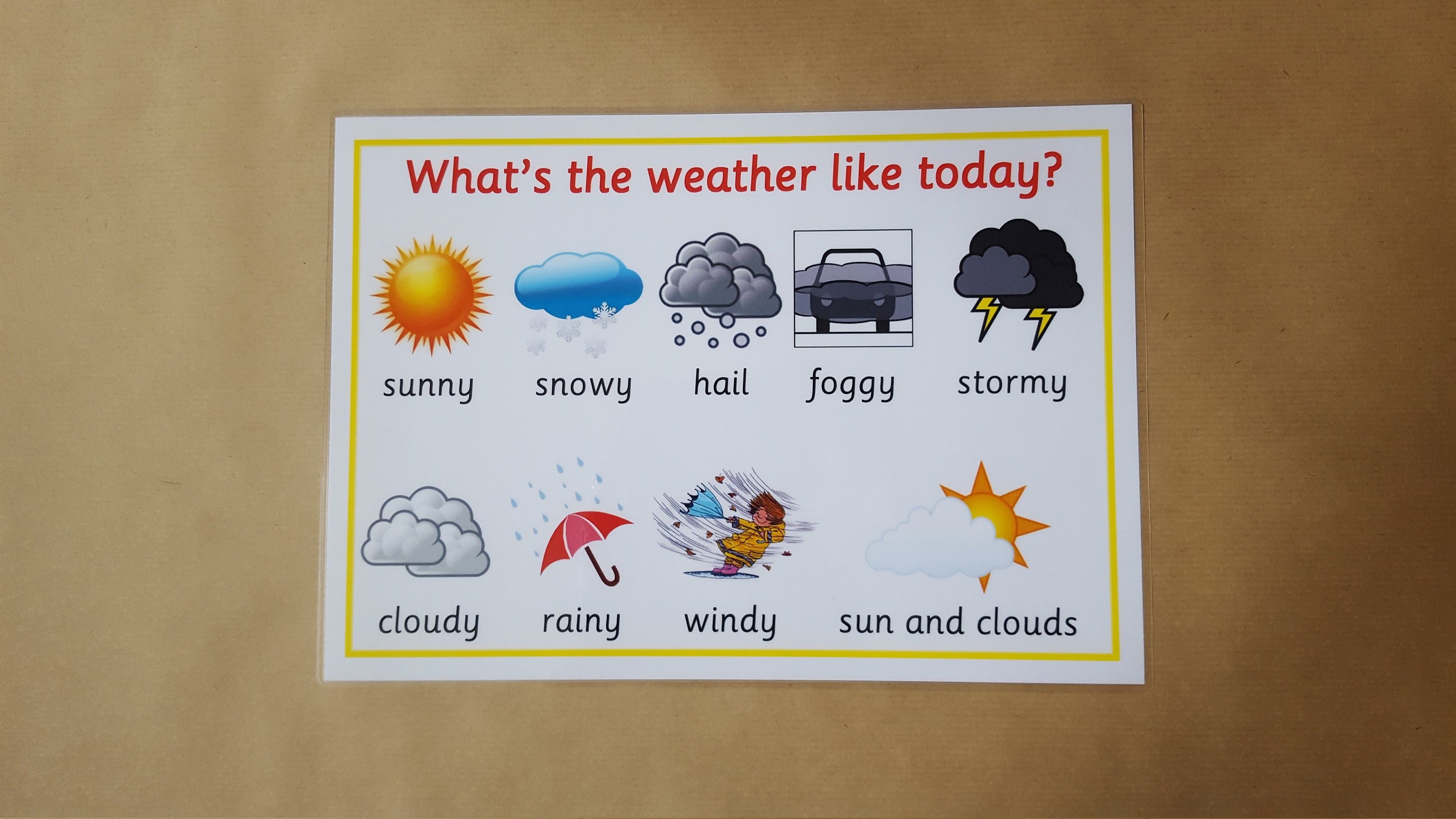 Weather Poster Laminated A4 Poster Early Learning Teaching   Etsy