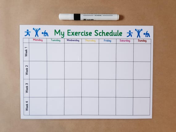exercise planner reusable laminated card slimming world etsy