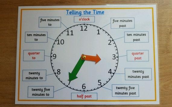 Clock/Time Telling the Time A4 Poster/Mat kS1/KS2   Etsy