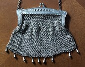 German silver chain mail purse antique silver mesh purse Edwardian silver metal purse theater costume steampunk collectible purse