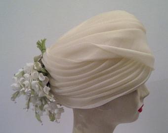 ad17226e Christian Dior chapeaux Paris-New York designer vintage hat spring hat  summer hat bridal hat vintage ivory white silk flowers