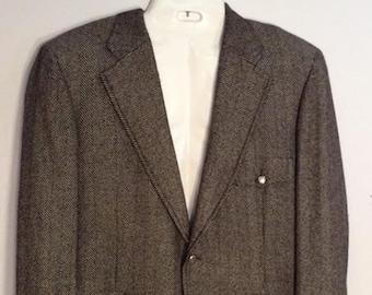 cashmere Norfolk half belted jacket vintage 70's ilSyu