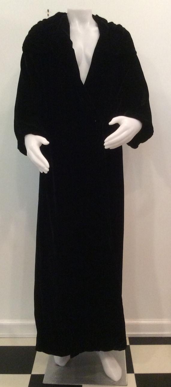 Black velvet evening coat vintage women's 1930's 1