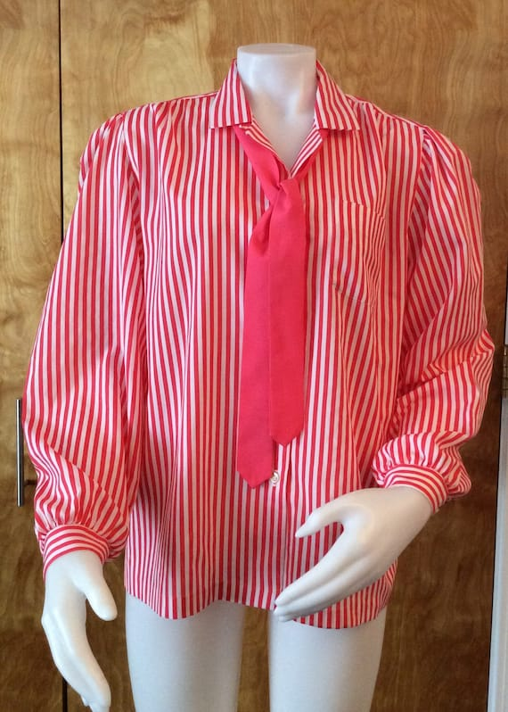 70s Bright Red Long Sleeve Ruffled Blouse By Rhoda Lee Size 8