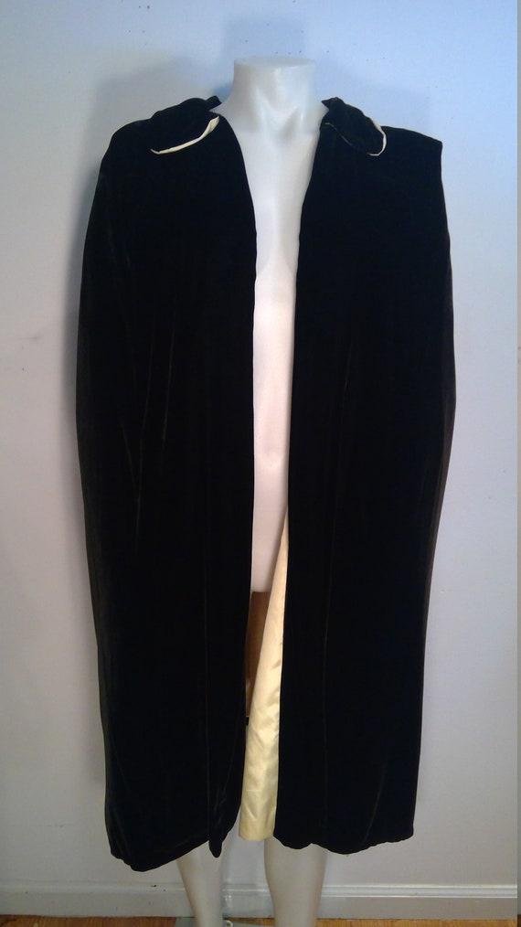 Vintage black silk velvet cape 1930's opera cape e
