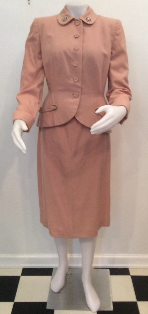 Dusty rose pink women's suit vintage 1940's styled