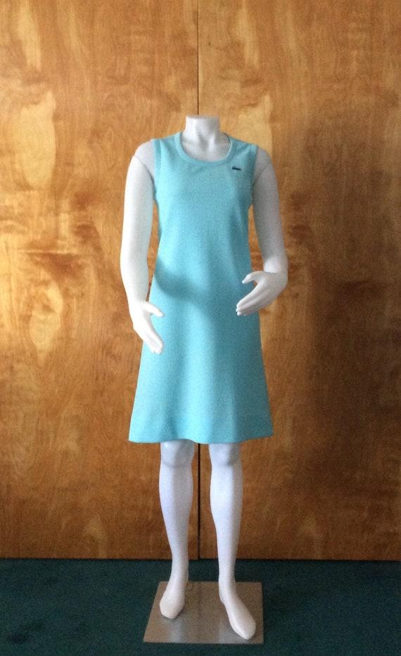 60/'s light blue and white polyester sleeveless sailor dress