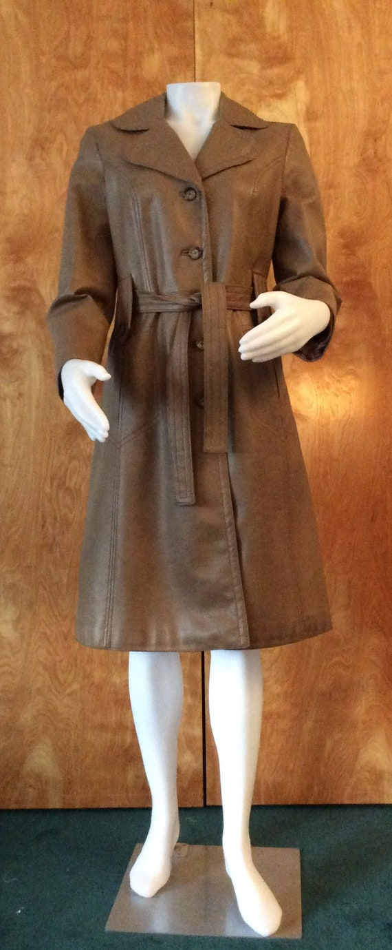 1970s vintage faux leather trench coat Port of Ca… - image 1