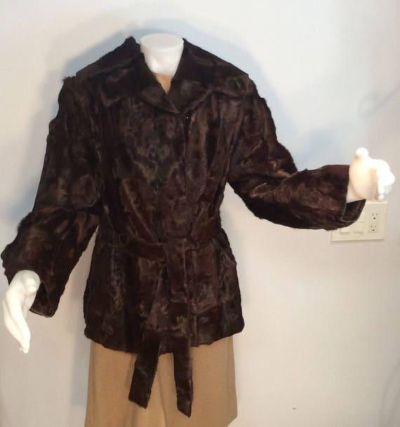 Brown fur jacket with belt vintage calf pony choco