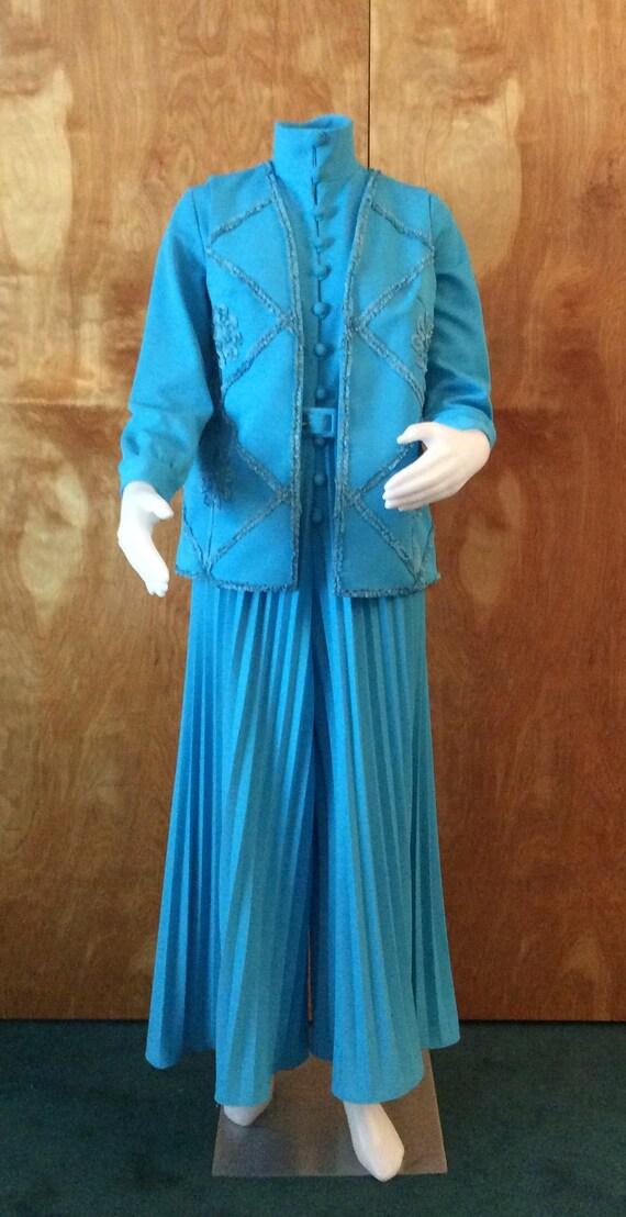Vintage jumpsuit 1970's palazzo pants ribbon vest