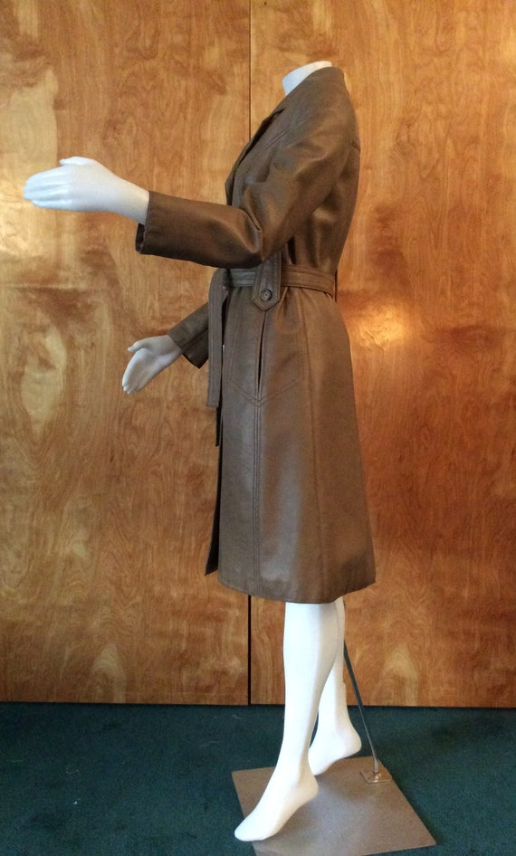 1970s vintage faux leather trench coat Port of Ca… - image 3