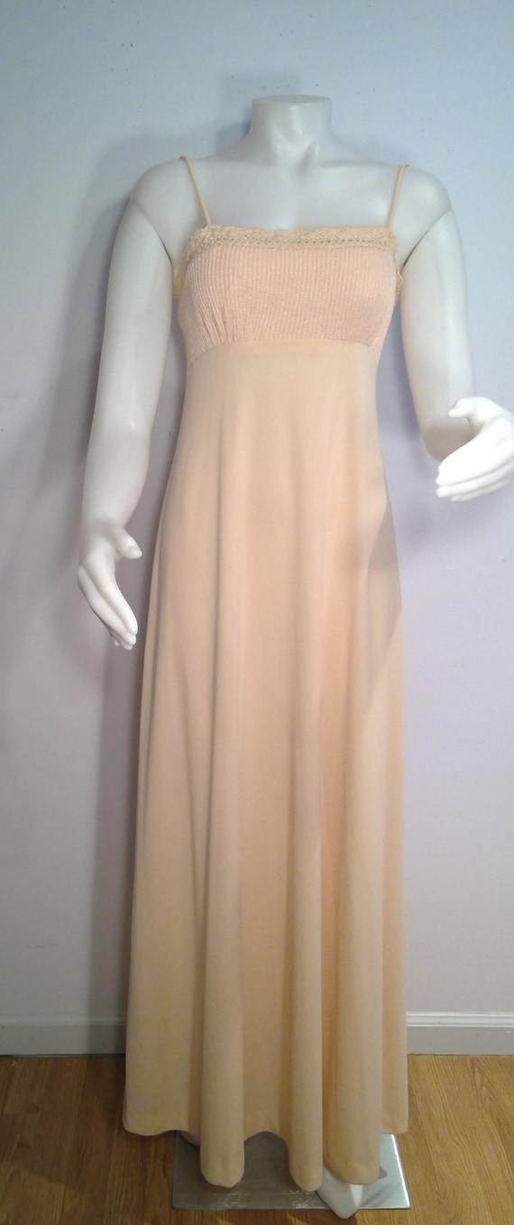 70s Long Flowy Dress Sheer Bolero Jacket Peach Pastel Disco Dress Vintage 70s Maxi Dress 70s Prom Dress Spaghetti Strap Maxi