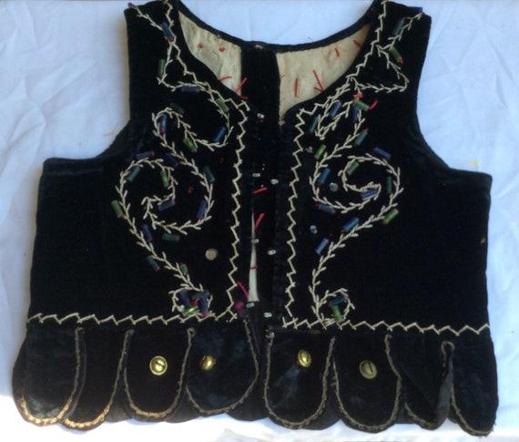 Polish dance costume vest vintage Childs black vel