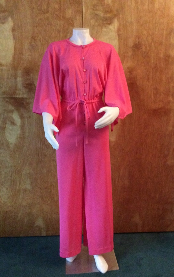 Vintage jumpsuit hot pink polyester angel wings pa