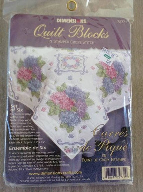 Quilt Blocks Stamped In Cross Stitch Dimensions Original Package