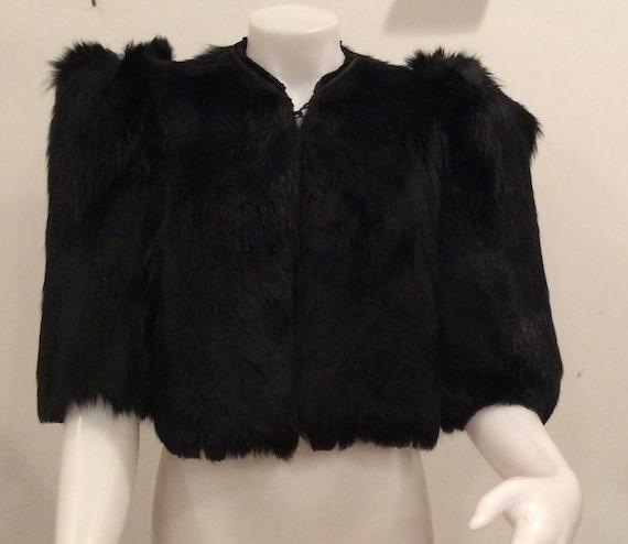 1930's bolero jacket black fur crop jacket vintage