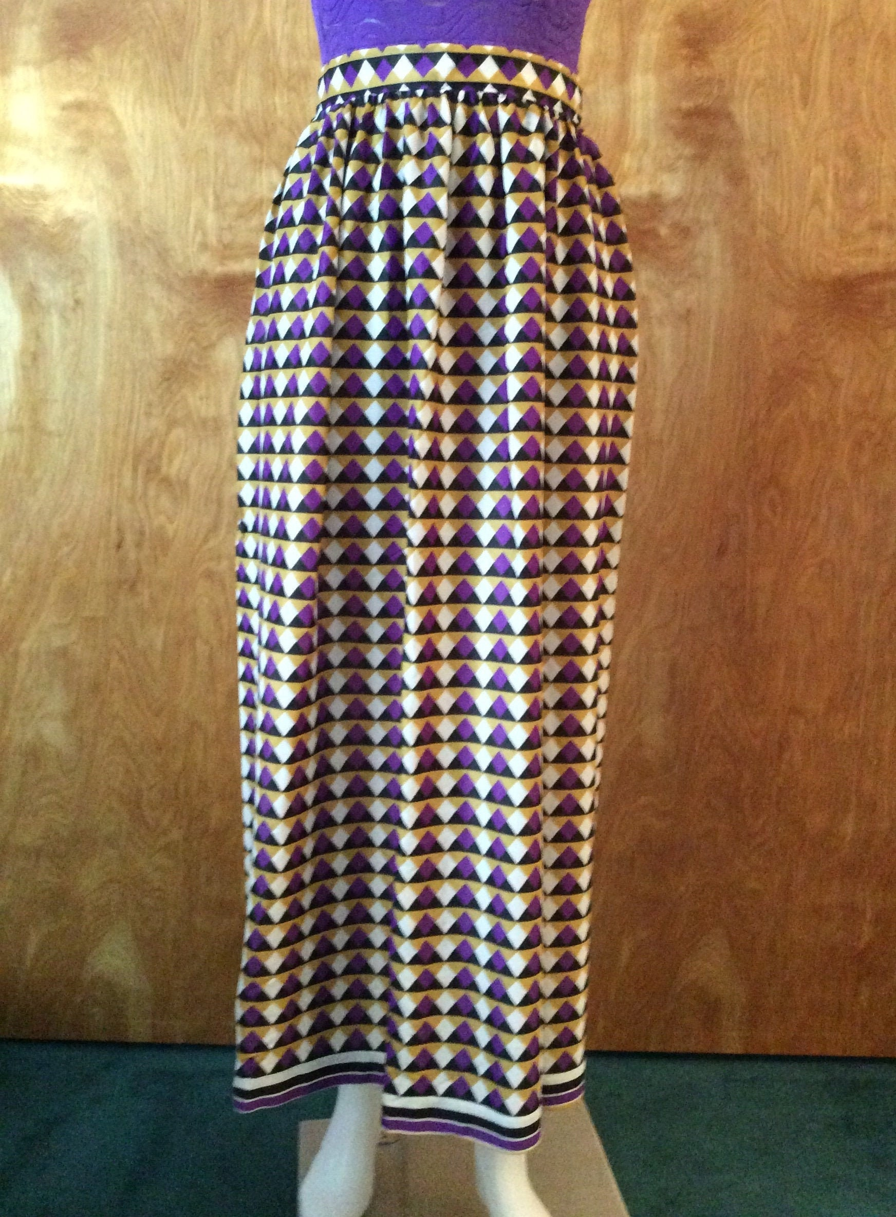 Vintage Scarf Styles -1920s to 1960s Vintage 1960s Maxi Skirt Geometric Print Purple  Gold Silky Polyester Swimsuit Coverup $0.00 AT vintagedancer.com
