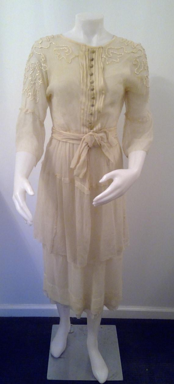 Edwardian tissue silk dress ivory bell sleeves sas