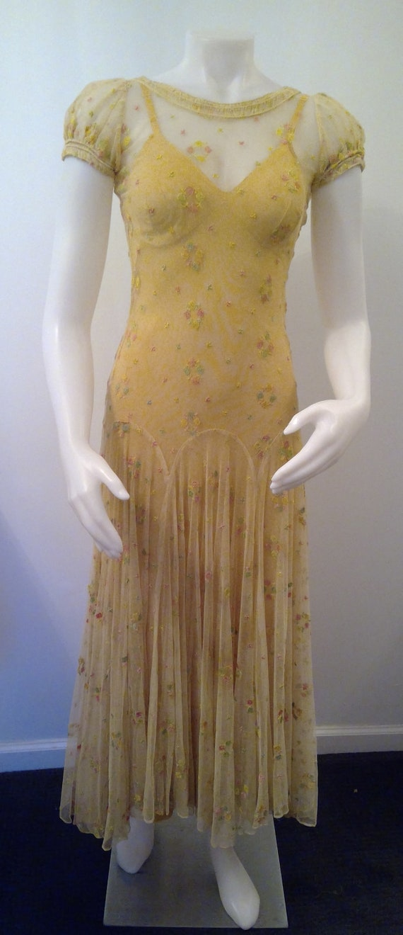 1930's mesh dress floral embroidery short sleeve f