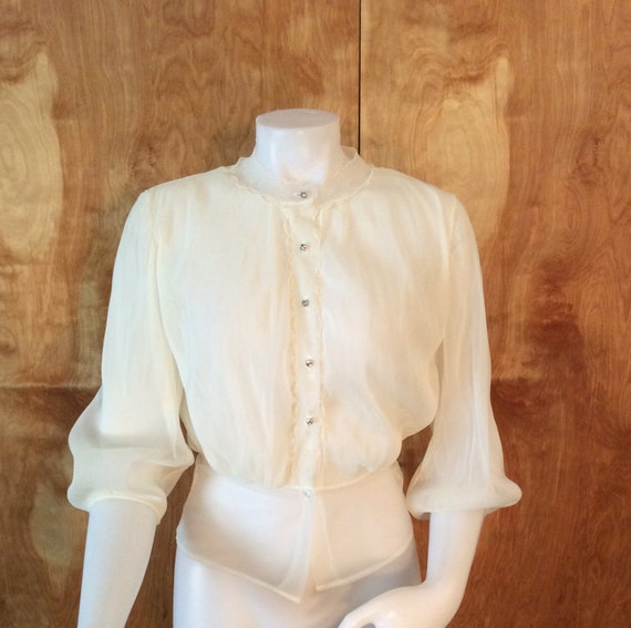 Paulwin blouse vintage sheer blouse rhinestone but