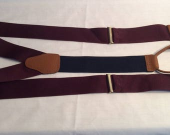 Brooks Brothers suspenders braces vintage burgundy wedding prom classic menswear vintage suit accessories gift for him