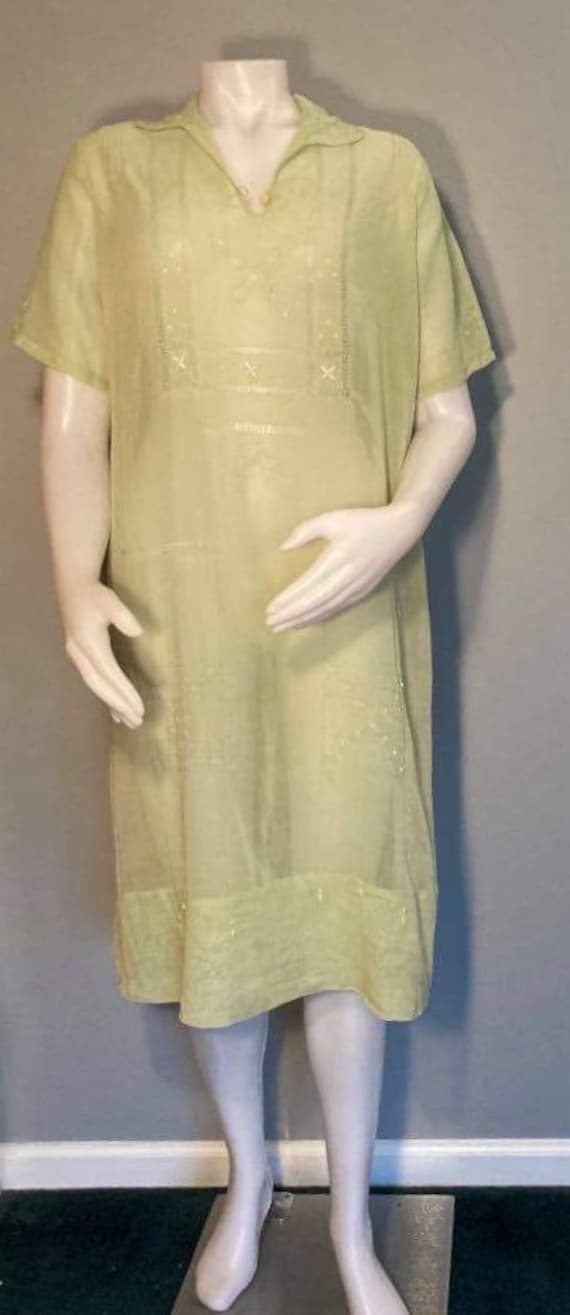1920s gauze dress light green white embroidery cut