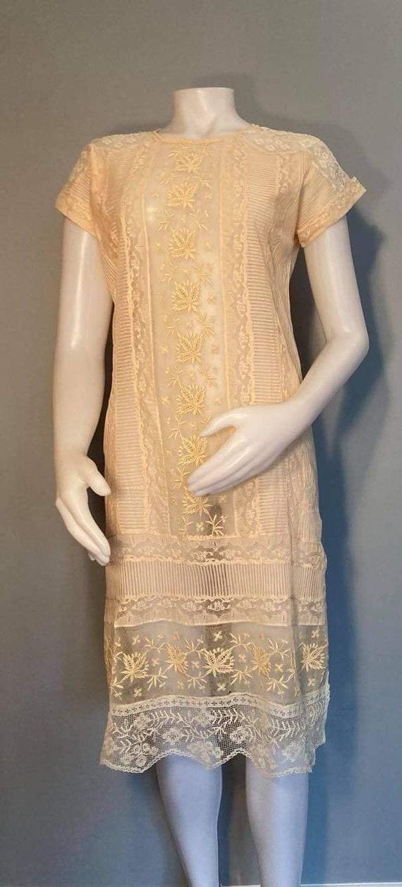 1920s mesh lace dress antique lace dress embroider