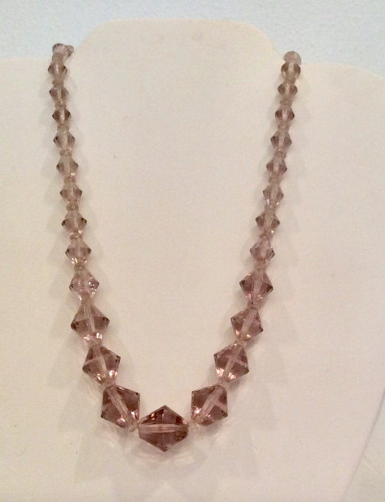 Purple glass bead necklace and earring set vintage 1950\u2019s theater costume wedding lavender crystal jewelry unique rare faceted crystal