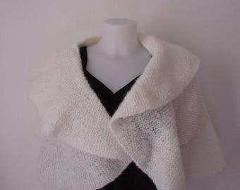 cape, white mohair mantle handmade knitting