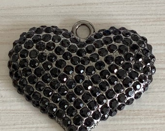 Keychain Backpack HEART Pendant Pewter DOUBLE-SIDED Gunmetal Boho Charm for Necklace