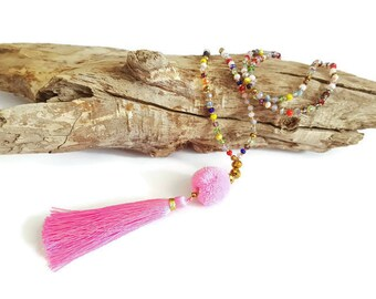 Pink long tassel necklace