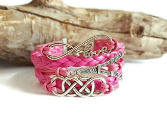 Bracelet multi-row cords and faux pink