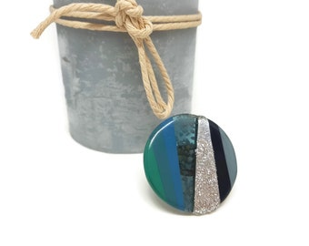 Green, blue and silver Adjustable ring