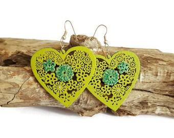 Green wood heart earrings