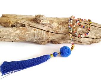 Necklace long blue tassel