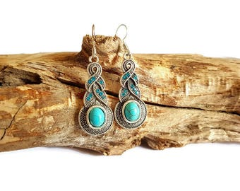 Turquoise stones and woven earrings