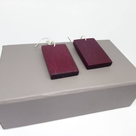 Purpleheart Drop Earrings in Sterling Silver- handcrafted jewellery by Crickhollow Crafts - bespoke by nature