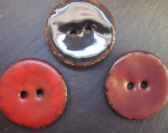 3 lacquered coconut buttons, 31 mm, single pieces, coconut button, colorful buttons coconut, button for knitting, kids button