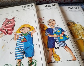 Vintage pattern children 1990s, multi-size pattern sheets, size 62 to 146, sewing instructions