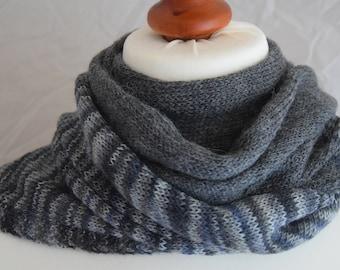 Alpaca scarf,grey knitted scarf,hand knitted stole,grey mottled,lace alpacastola,length 200 cm width 26 cm