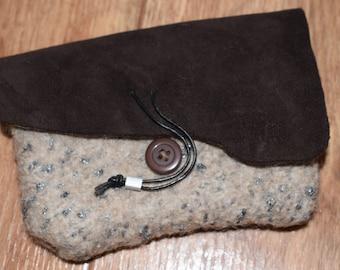 knitted bag clutch felted, suede black, bag felt leather black, felt bag knitted
