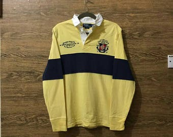 794fc3f481a Sale Vintage Polo by Ralph Lauren shirt long sleeve/Polo Rugby/Nice Design/ Small logo/Size Medium.