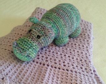Crocheted Hippopotamus for Christmas - original design