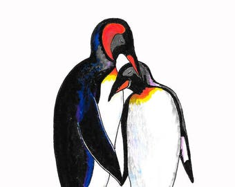 Penguin Love Card - With Text and Without Text Versions