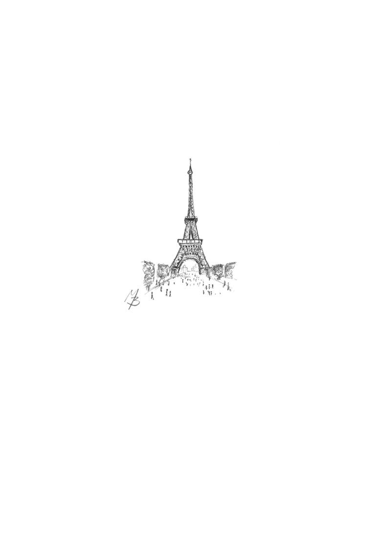 Eiffel tower a miniature pencil drawing reproduced actual etsy