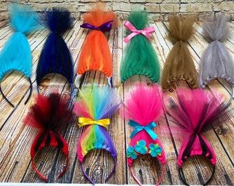 Trolls Birthday, Party Favors, Princess Poppy, Trolls Headband, Headband, Trolls Hair, Trolls Dress up