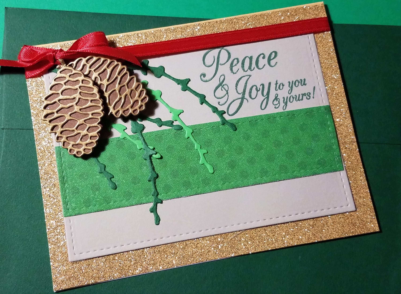 Greetings Holiday Card Peace & Joy Christmas Card Die Cut   Etsy