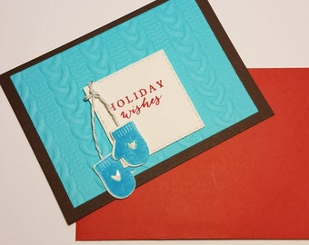 Warm  Wishes Holiday Card- Winter Mitten Card- Christmas Card- Seasons' Greetings - Happy Holiday - Note Card - Just Because - Stampin