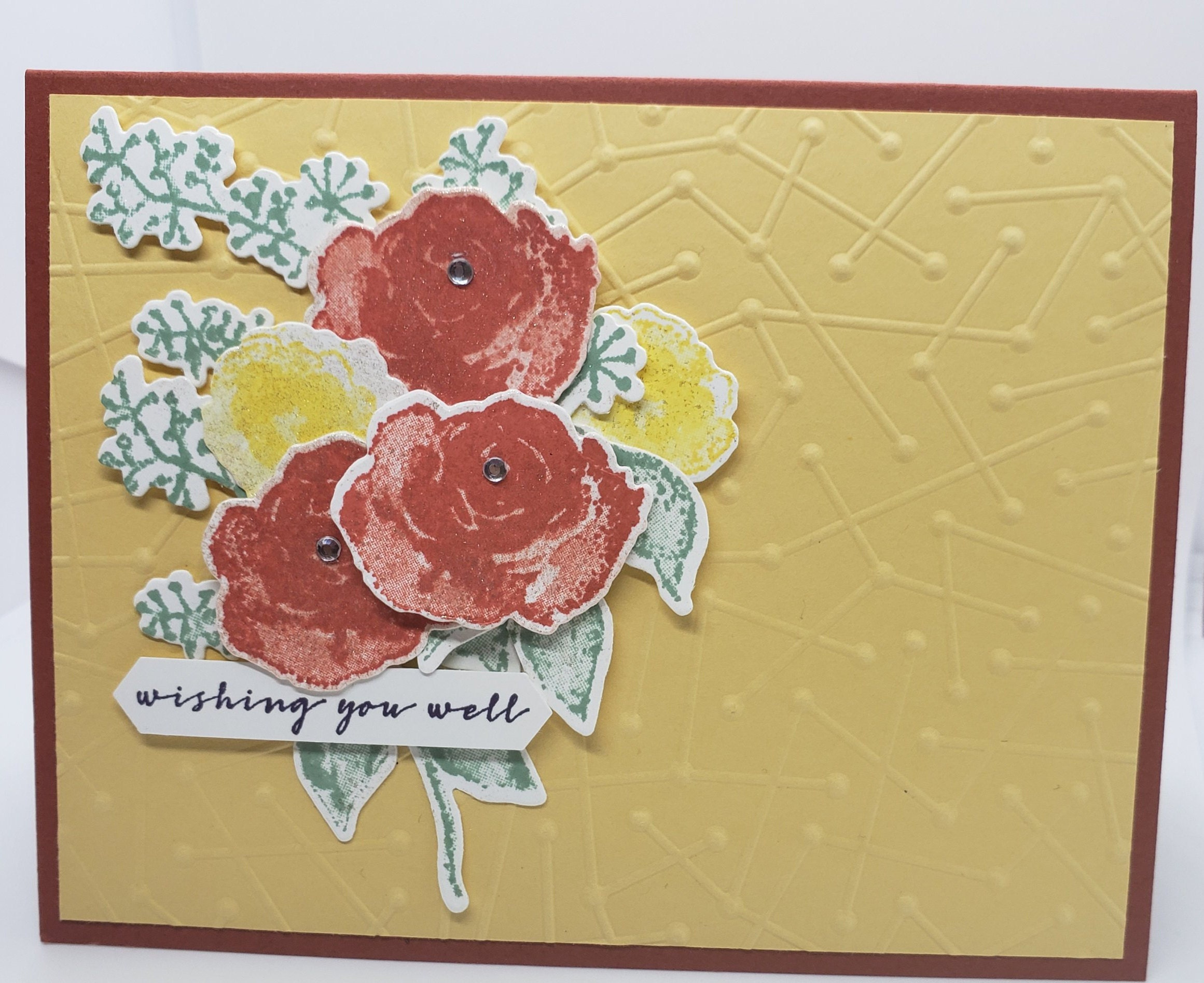Wishing You Well Handmade Greeting Card Floral Bouquet Get Well