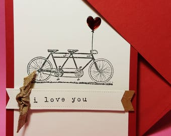 Anniversary Love Card - Tandem Bike - Valentine's Greeting Card-  Double Couple Bike- Tandem Bicycle Card- Just Because Card